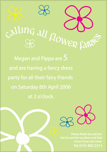 Flower Fairies Kids Party Invite Green Sage background
